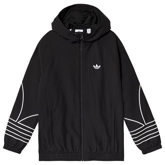adidas Originals Outline Logo Hooded Tracksuit Jacket Black Black