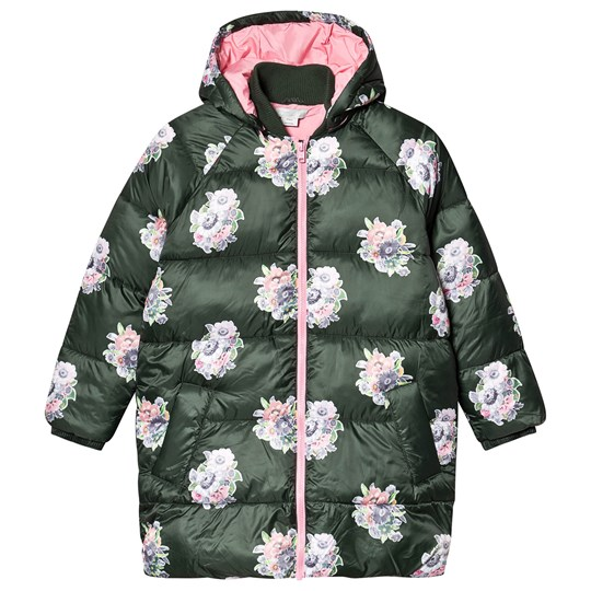 Stella McCartney Kids Multi Floral Print Puffer Jacket Green 3065
