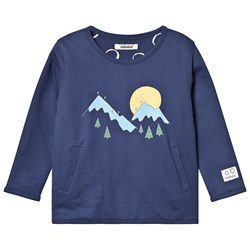 Indikidual Mountain and Snow Print Reversible Sweatshirt Navy