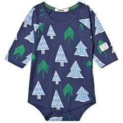 Indikidual Tree Print Baby Body Marineblå