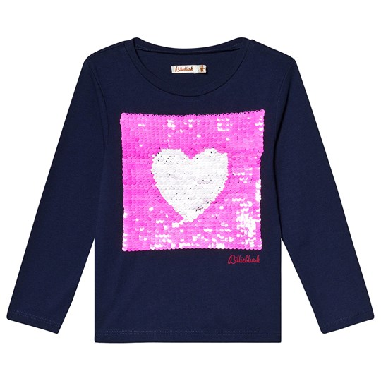 Billieblush Long Sleeve Tee with Reversible Sequin Heart Navy 85T