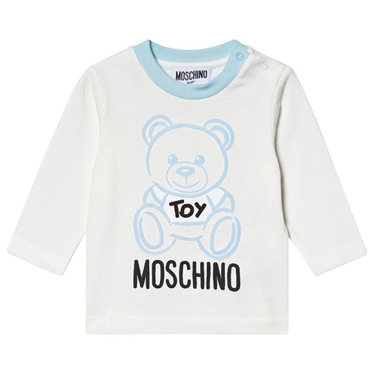 Moschino Kid-Teen Bear Branded T-Shirt Cream/Blue 40304