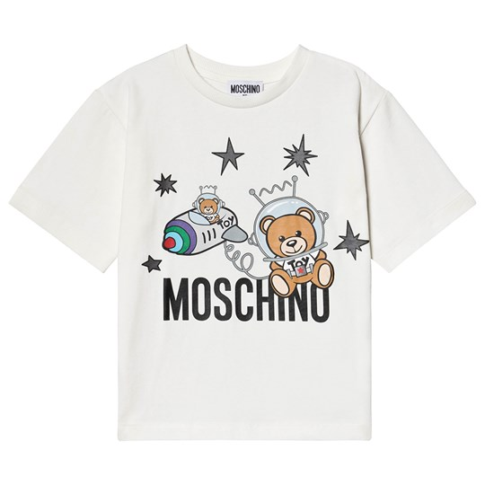 Moschino Kid-Teen Space Bjøn Logo T-Shirt Cream 10063