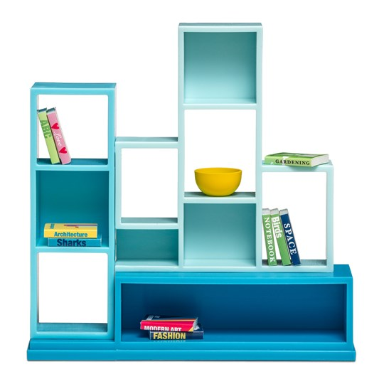 LUNDBY Accessories Bookshelf Doll House Furniture Set Blue White