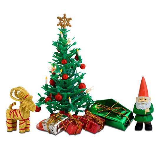 LUNDBY Accessories Christmas Tree Doll House Furniture Set White