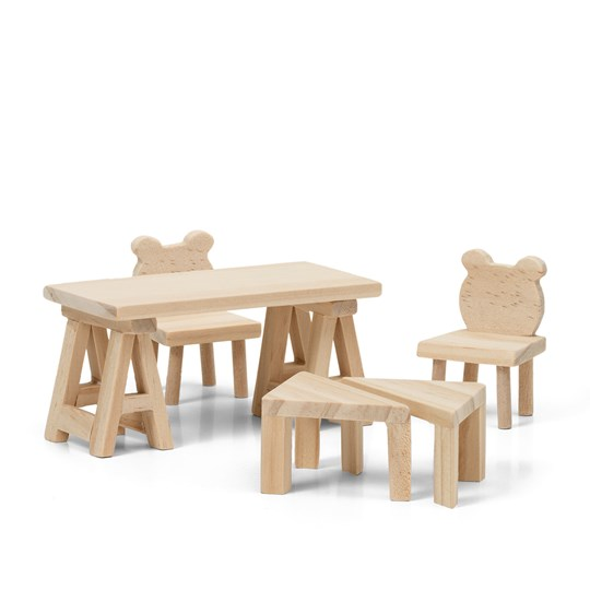 LUNDBY Creative DIY Table and Chairs Doll House Furniture Set Beige
