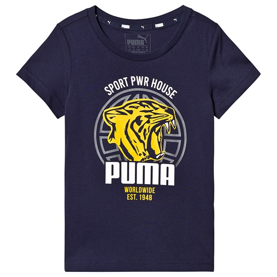 Puma Branded Graphic T-Shirt Navy peacoat