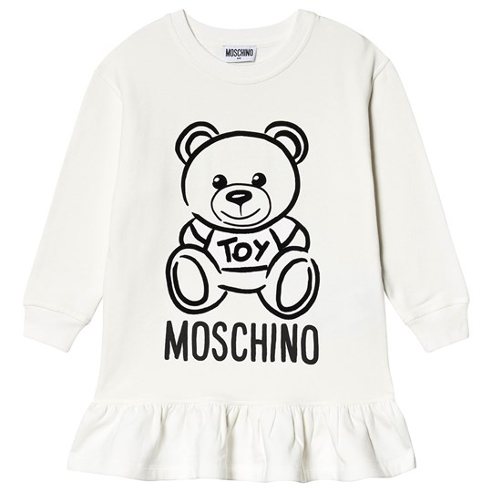 Moschino Kid-Teen Bear Ruffle Sweat Dress in Cream 10063