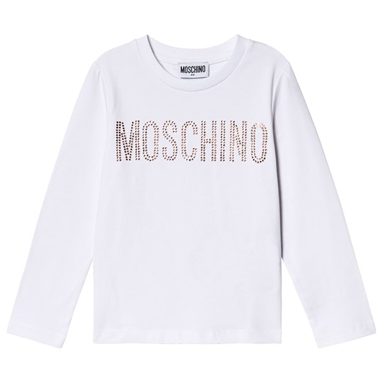 Moschino Kid-Teen Stud Branded T-Shirt White/Gold 10101