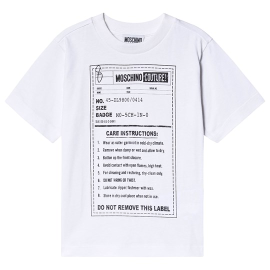 Moschino Kid-Teen Couture Label T-Shirt White 10101