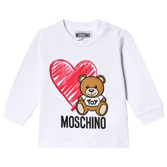 Moschino Kid-Teen Heart Bear T-Shirt White 10101