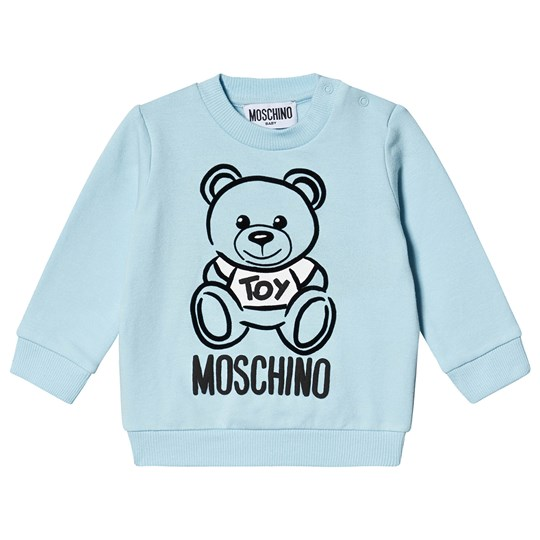 Moschino Kid-Teen Bear Branded Sweatshirt Pale Blue 40304