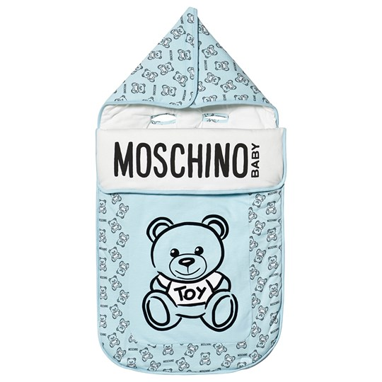 Moschino Kid-Teen Bear Branded Footmuff Pale Blue 84905