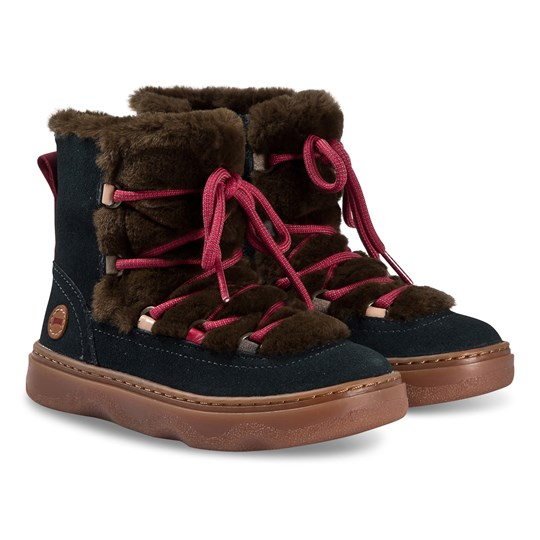 Camper Twins Faux Fur Boots Navy/Brown 003