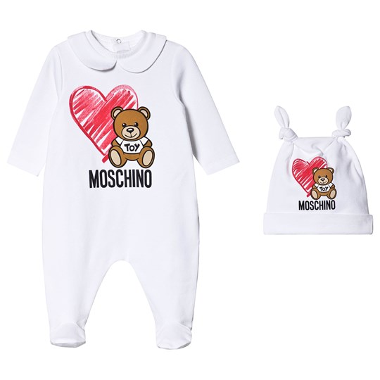 Moschino Kid-Teen Heart Bear Footed Baby Body White 10101