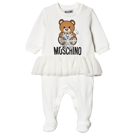 Moschino Kid-Teen Snowflake Bear Footed Baby Body White 10063