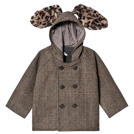 Tocoto Vintage Checkered Hooded Coat Brown BROWN