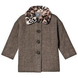Tocoto Vintage Checkered Coat Faux Fur Collar Brown