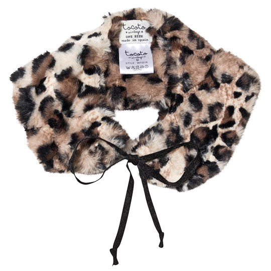 Tocoto Vintage Animal Print Faux Fur Collar Brown BROWN