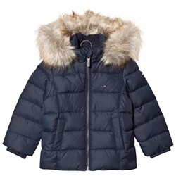 Tommy Hilfiger Padded Down Fur Hooded Coat Navy