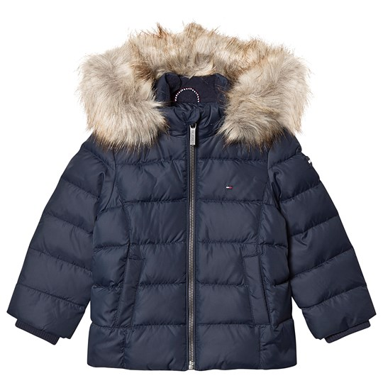 Tommy Hilfiger Padded Down Fur Hooded Coat Navy 002