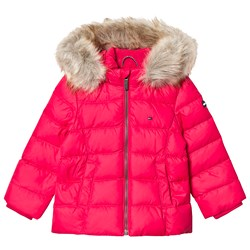 Tommy Hilfiger Padded Down Fur Hooded Coat Pink
