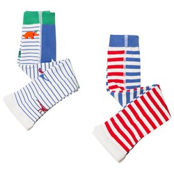 Tom Joule 2-Pack Stripe Lively Footless Tights Dino