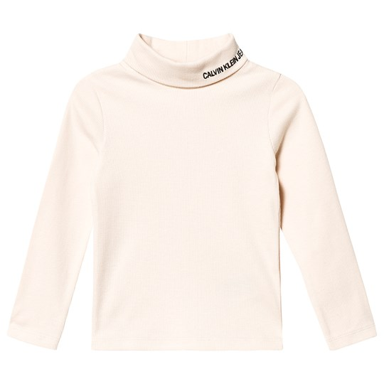 Calvin Klein Jeans Branded Turtleneck Top Cream PGB