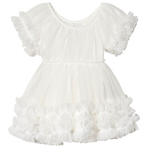Image of DOLLY by Le Petit Tom Frilly Dress White Large (8-10 år) (1447314)
