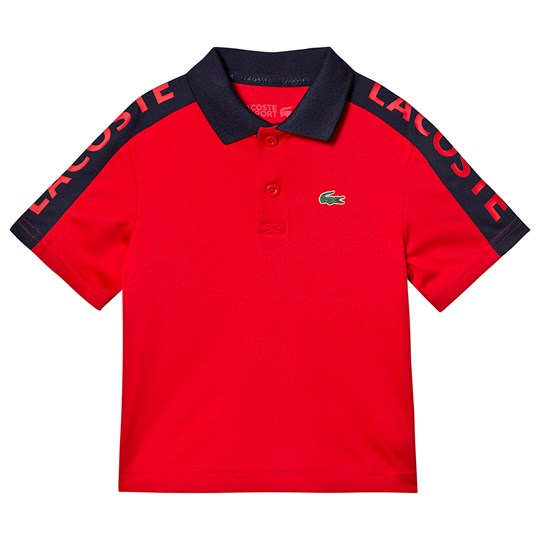 Lacoste Branded Dry Tech Tennis Polo Shirt Red/Navy 0ST