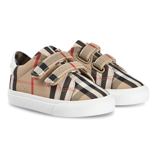 Burberry Check Velcro Low Trainers Archive Beige/White ARCHIVE BEIGE/WHITE