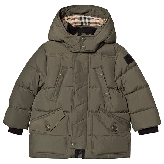 Burberry Ryker Check Lined Hooded Puffer Coat Poplar Green POPLAR GREEN