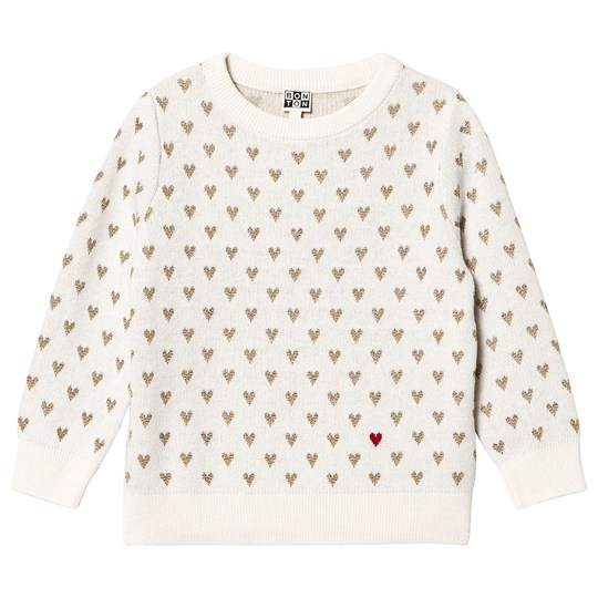 Bonton Heart Sweater Off White Latte