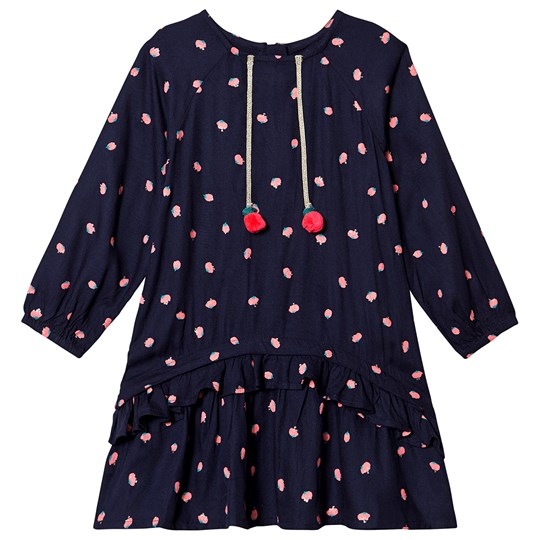 Billieblush Navy Strawberry Print Dress with Pom Pom Detail 85T