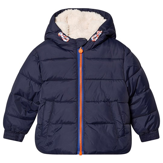 Billybandit Puffer Jacket Blue with Faux Fur Lining 849