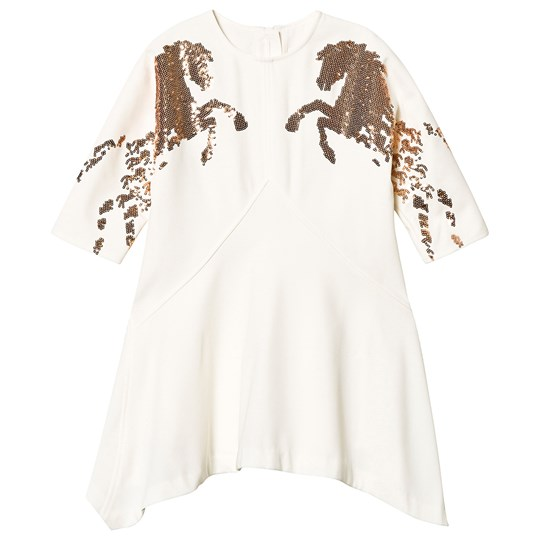 99b328bf97 Chloé - Horse Sequin Crepe Dress White - Babyshop.com