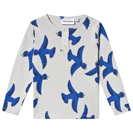 Mini Rodini Flying Birds Grandpa T-shirt i Lys Grå Light Grey