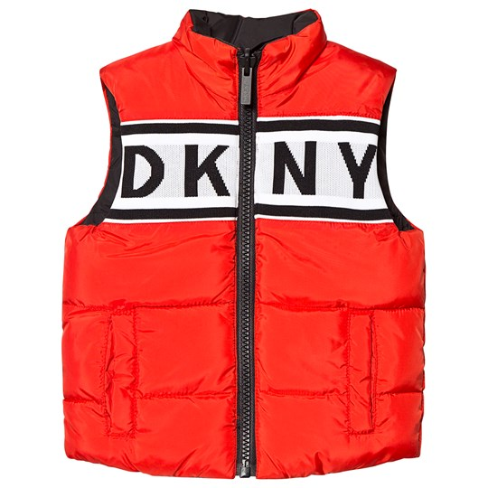 DKNY Red and Black Water Repellent DKNY Reversible Gilet 992