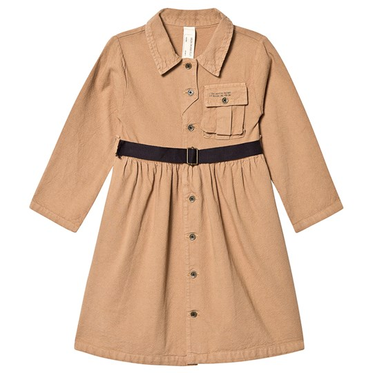 Little Creative Factory Cotton Work Dress with Belt Camel Dark Camel