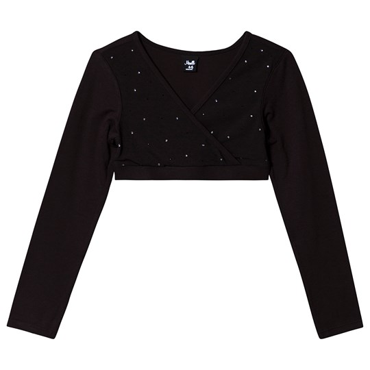 Mirella Diamante Slå Om Crop Top Sort med Mesh Paneler Black