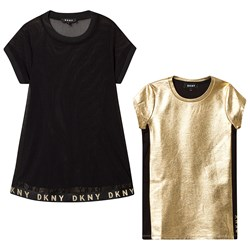 DKNY 2 in 1 Mesh and Jersey Dress Black/Gold
