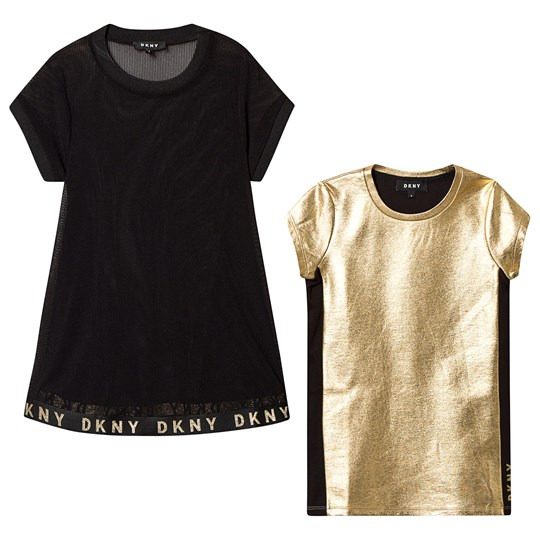 DKNY 2 in 1 Mesh and Jersey Dress Black/Gold 517