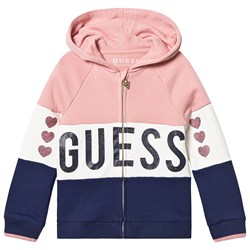 Guess Color Block Glitter Heart Hoodie Pink/Navy