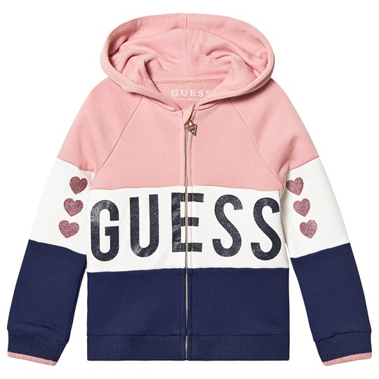 Guess Color Block Glitter Heart Hoodie Pink/Navy S49A