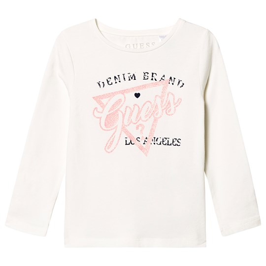 Guess Branded Long Sleeve Tee White and Pink WCLY
