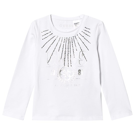 Guess Diamante Branded Long Sleeve Tee White/Gold TWHT