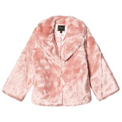 Guess Faux Fur Embroidered Jacket Pink