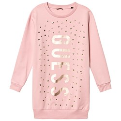 Guess Stud Branded Sweat Dress Pink and Gold