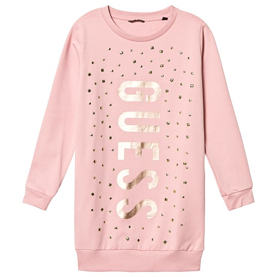 Guess Stud Branded Sweat Dress Pink and Gold SIPK
