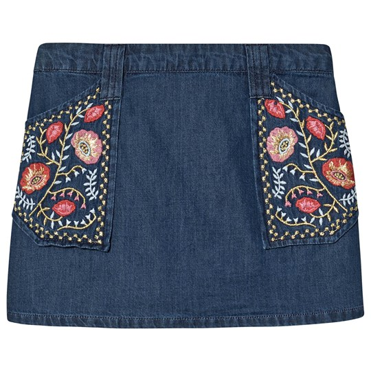 Velveteen Rhea Embroidered Skirt Blue Denim IDM